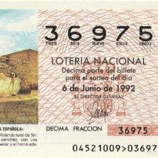 Lotería Nacional: SORTEO Nª45 1992 SABAD0 6 DE JUNIO Nº 36975 500 PESETAS.MAZARRÓN (MURCIA). Lote 229208240