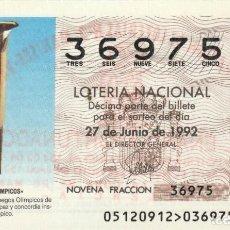 Lotería Nacional: SORTEO Nª 51 1992 SABAD0 27 DE JUNIO Nº 36975 500 PESETAS ANTORCHA JUEGOS OLIMPICOS BARCELONA. Lote 229222795