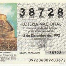 Lotería Nacional: SORTEO Nª 97 1992 5 DE DICIEMBRE Nº 38728 500 PESETAS.TORREVIEJA (ALICANTE).. Lote 229244370