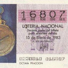 Lotería Nacional: SORTEO Nª 2 1983 15 DE ENERO Nº 16807. 1000 PESETAS.ASTROLABIO MARINERO S.XV.. Lote 229408865
