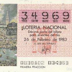 Lotería Nacional: SORTEO Nª 8 1983 26 DE FEBRERO Nº 34969. 250 PESETAS.. VISTA DE SEVILLA.. Lote 229415945