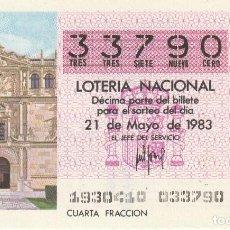 Lotería Nacional: SORTEO Nª 19 1983 21 DE MAYO Nº 33790. 250 PESETAS.ALCALA DE HENARES. Lote 229427075