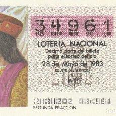 Lotería Nacional: SORTEO Nª 20 1983 28 DE MAYO Nº 34961. 250 PESETAS.FERNANDO EL CATOLICO.. Lote 229427465