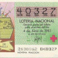 Lotería Nacional: SORTEO Nª 21 1983 4 DE JUNIO Nº 40327. 500 PESETAS.MAPA DE TOSCANELLI.. Lote 229428680
