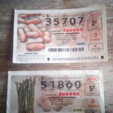 Lotería Nacional: 2 DÉCIMO LOTERÍA JUEVES AÑO 2002 SORTEOS N.º 48 Y 50. Lote 229820110