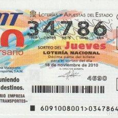 Lotería Nacional: LOTERIA NACIONAL DE LOS JUEVES.- AÑO 2010- SORTEO --91/10. Lote 230001205