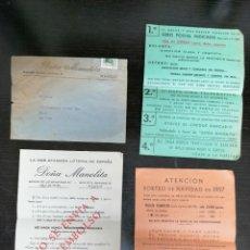 Lotería Nacional: SOBRE CON HOJAS HOJAS DE PEDIDO A DOÑA MANOLITA LOTERIA NACIONAL. SORTEO NAVIDAD DE 1957.. Lote 231083825