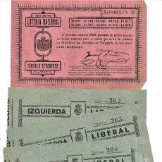 Lotería Nacional: JÁTIVA (VALENCIA) 5 PARTICIPACIONES LOTERÍA NAVIDAD 1924 - IZQUIERDA LIBERAL Y CÍRCULO SETABENSE. Lote 231663335