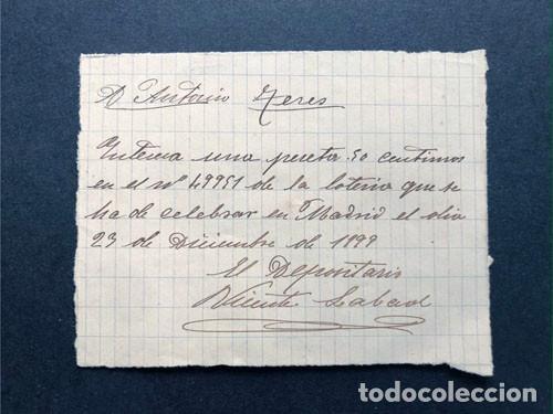 BARBASTRO AÑO 1899 / PARTICIPACION DE LOTERÍA DE NAVIDAD - 1 PESETA / HUESCA (Coleccionismo - Lotería Nacional)