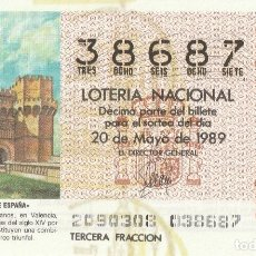 Lotería Nacional: DECIMO SORTEO 20 DE 1989 TORRES DE SERRANO (VALENCIA). Lote 231982145