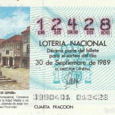 Lotería Nacional: DECIMO SORTEO 39 DE 1989 PLAZA DE LEÑA, PONTEVEDRA. Lote 232027015