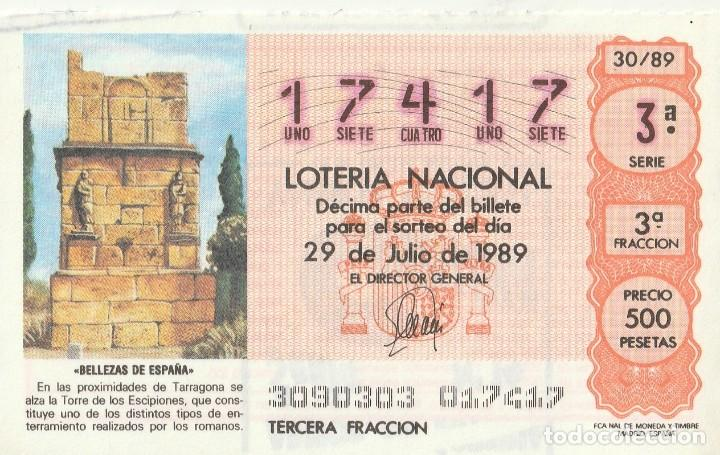 DECIMO SORTEO 30 DE 1989 TORRE DE LOS ESCIPIONES, TARRAGONA (Coleccionismo - Lotería Nacional)