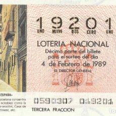 Lotería Nacional: DECIMO SORTEO 5 DE 1989 BARRIO GOTICO DE BARCELONA. Lote 232027950