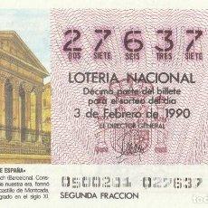 Lotería Nacional: DECIMO SORTEO Nº 5 DE 1990. TEMPLO ROMANO DE VICH (BARCELONA). Lote 232068365
