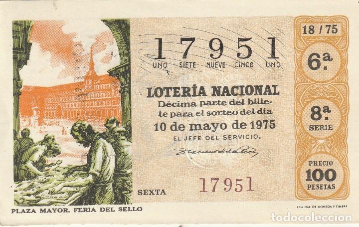 DECIMO SORTEO Nº 18 DE 1975 PLAZA MAYOR FERIA DEL SELLO FONDO ANARANJADO (Coleccionismo - Lotería Nacional)