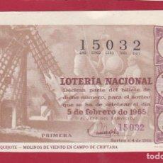 Loterie Nationale: LOTERIA SORTEO 4 DE 1965 RUTA DEL QUIJOTE MOLINOS DE VIENTO EN CAMPO DE CRIPTANA. Lote 232856515