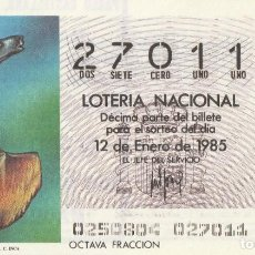 Lotería Nacional: DECIMO SORTEO Nº 2 DE 1985 CUCHILLO FORMA DE LAMA.CULTURA INCA. Lote 234029740