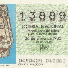 Lotería Nacional: DECIMO SORTEO Nº 4 DE 1985 PAGINA DEL CODICE TRO-CORTESIANUES. CULTURA MAYA. Lote 234030555