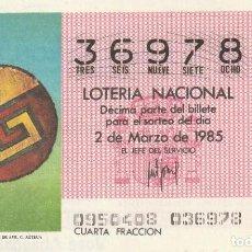 Lotería Nacional: DECIMO SORTEO Nº 9 DE 1985 ESCUDO GUERRERO DE PLUAS DE AVE.CULTURA AZTECA. Lote 234037185