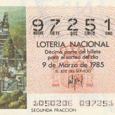 Lotería Nacional: DECIMO SORTEO Nº 10 DE 1985 PIRAMIDE TUKAL. CULTURA MAYA. Lote 234042475