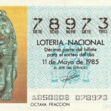 Lotería Nacional: DECIMO SORTEO 18 DE 1985 DIOS XOLLOTL. CULTURA AZTECA. Lote 234669540