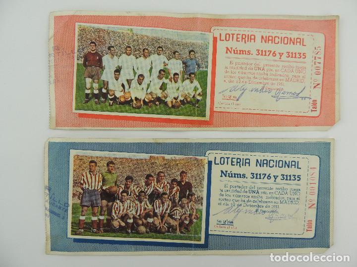 LOTERIA NACIONAL 1951 REAL MADRID ATLETICO MADRID NUMEROS 31176 Y 31135 (Coleccionismo - Lotería Nacional)