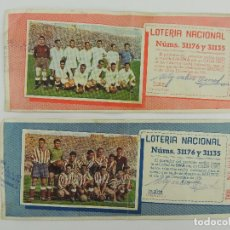 Lotteria Nationale Spagnola: LOTERIA NACIONAL 1951 REAL MADRID ATLETICO MADRID NUMEROS 31176 Y 31135. Lote 234813255
