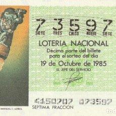 Lotería Nacional: DECIMO SORTEO Nº 41 DE 1985. CUCHILLO DE CEREMONIAS EN OBSIDIANA. CULTURA AZTECA. Lote 234868930
