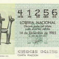 Lotería Nacional: DECIMO SORTEO Nº 49 DE 1985. FIGURILLAS DE OFRENDAS RELIGIOSAS. CULTURA INCA. Lote 234873075