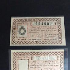 Lotteria Nationale Spagnola: CURIOSA PAREJA !! LOTERIA AÑO 1912 SORTEO 11 (UNA SIN NÚMERO NI SELLO)MUY RARA PARA LA ÉPOCA. Lote 234913030