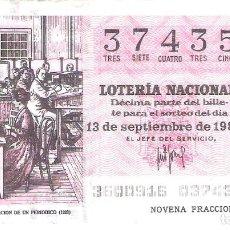 Lotería Nacional: 1 DECIMO LOTERIA SABADO 13 SEPTIEMBRE 1980 36/80 PERIODICOS ADMINISTRACION PERIODICO ( COLOR ROJO. Lote 235468945