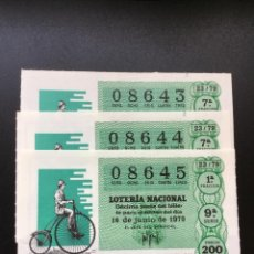 Lotería Nacional: DECIMO LOTERÍA 1979 SORTEO 23/79 NÚMEROS CORRELATIVOS. Lote 235470875