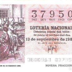 Lotería Nacional: 1 DECIMO LOTERIA SABADO 13 SEPTIEMBRE 1980 36/80 PERIODICOS ADMINISTRACION PERIODICO ( COLOR NARANJA. Lote 235472245
