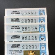 Lotería Nacional: DECIMO LOTERÍA 1972 SORTEO 23/72 NÚMEROS CORRELATIVOS. Lote 235472685
