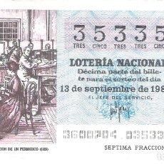 Lotería Nacional: 1 DECIMO LOTERIA SABADO 13 SEPTIEMBRE 1980 36/80 PERIODICOS ADMINISTRACION PERIODICO ( COLOR AZUL. Lote 235474710
