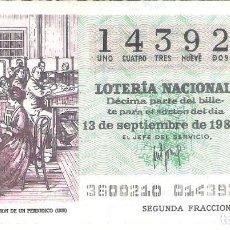Lotería Nacional: 1 DECIMO LOTERIA SABADO 13 SEPTIEMBRE 1980 36/80 PERIODICOS ADMINISTRACION PERIODICO ( COLOR VERDE. Lote 235476085