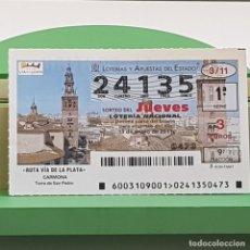 Lotería Nacional: LOTERÍA NACIONAL, SORTEO 3/11, 13 ENERO 2011, RUTA VÍA DE LA PLATA, CARMONA, Nº 24135. Lote 235504325