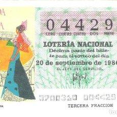 Lotería Nacional: 1 DECIMO LOTERIA SABADO 20 SEPTIEMBRE 1980 37/80 PERIODICOS CARTEL CORRIDA TOROS PRENSA COLOR VERDE. Lote 235568305
