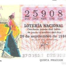 Lotería Nacional: 1 DECIMO LOTERIA SABADO 20 SEPTIEMBRE 1980 37/80 PERIODICOS CARTEL CORRIDA TOROS PRENSA COLOR NARANJ. Lote 235568855