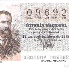 Lotería Nacional: 1 DECIMO LOTERIA SABADO - 27 SEPTIEMBRE 1980 - 38/80 -PERIODICOS - MIGUEL MOYA ( COLOR MARRON OSCURO. Lote 235569580