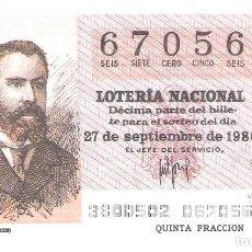 Lotería Nacional: 1 DECIMO LOTERIA SABADO - 27 SEPTIEMBRE 1980 - 38/80 -PERIODICOS - MIGUEL MOYA ( COLOR MARRON CLARO. Lote 235569815