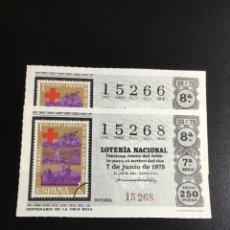 Lotería Nacional: DECIMO LOTERÍA 1975 SORTEO 22/75 NÚMEROS CORRELATIVOS. Lote 235572075