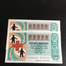 Lotería Nacional: DECIMO LOTERÍA 1976 SORTEO 21/76 NÚMEROS CORRELATIVOS. Lote 235572830