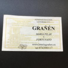 Lotería Nacional: DECIMO LOTERÍA 2018 SORTEO 102/18 ADMINISTRACION GRAÑEN (HUESCA) 1. Lote 235945250