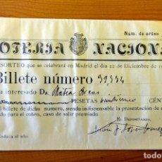 Lotería Nacional: PARTICIPACIÓN DE DÉCIMO DE LOTERÍA NACIONAL NAVIDAD 1923. Lote 236466630