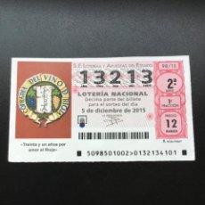 Lotteria Nationale Spagnola: DECIMO LOTERÍA 2015 SORTEO 98/15 NÚMERO 13213 CAPICUA AMERICANO. Lote 236900960