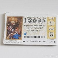 Lotteria Nationale Spagnola: LOTERÍA NACIONAL, AÑO 2020 COMPLETO, SORTEO SÁBADOS, MUY BUEN ESTADO. Lote 236938265