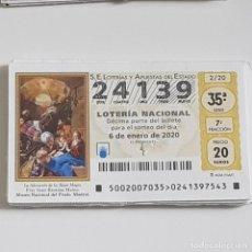 Lotteria Nationale Spagnola: LOTERÍA NACIONAL, AÑO 2020 COMPLETO, SORTEO SÁBADOS, MUY BUEN ESTADO. Lote 236938425