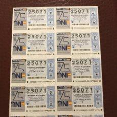 Lotería Nacional: LOTERIA AÑO 2020 SORTEO 10 BILLETE COMPLETO. Lote 237256840