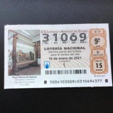 Lotería Nacional: DECIMO LOTERÍA 2021 SORTEO 4/21 NÚMERO 31069. Lote 237299065